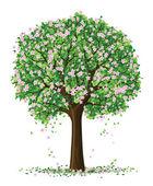 Vector silhouette of spring season tree — Stock Vector