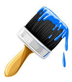 Vector brush with blue paint isolated — Stock Vector