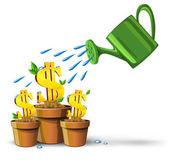 Gold dollars money growing in pots — Stock Vector