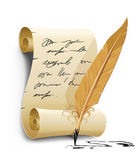 Old writing script with ink feather tool — Vector de stock