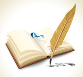 Opened book with ink feather tool — Vector de stock