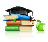 Pile school book professorial cap and apple — Stock Vector