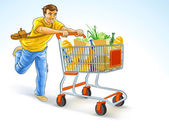 Running man with shopping cart full of products — Stock Vector