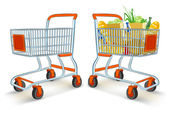 Full and empty shopping carts from supermarket store — Stock Vector