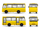 Yellow minibus vector draft template — Stock Vector
