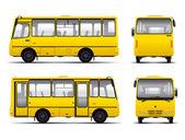 Yellow minibus vector draft template — Stock Vector