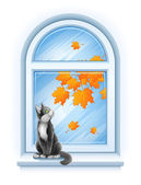 Kitten sitting on windowsill of autumn window — Stock Vector