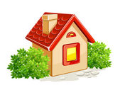Little private house in green bushes — Stock Vector