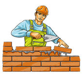 Builder man with derby tool building a brick wall — Stock Vector