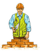 Builder man with derby tool building a wall — Stock Vector