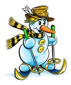 Vector winter snowman on skis — Stock Vector