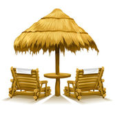 Two beach deck-chairs under wooden umbrella — Stock Vector