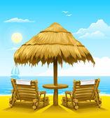 Two beach deck-chairs under wooden umbrella — Stock Vector