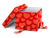 Red opened cardboard box with hearts — Stock Vector