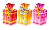 Uppsättning paketerade holiday gåvor med rosett — Stockvektor
