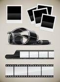 Photo and video film pictures set — Stock Vector