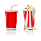 Full glasses with drink and popcorn — Stock Vector