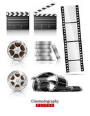 Set of objects for cinematography clapper and film tape — Stock Vector