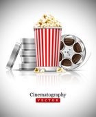 Cinematograph in cinema films and popcorn — Stock Vector