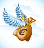 Flying sack of euro money with wings — Stock Vector