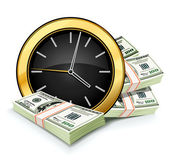Time is money concept with clock and dollars — 图库矢量图片