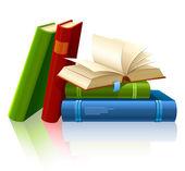 Grupo de diversos libros con páginas en blanco — Vector de stock