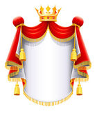 Royal majestic mantle with gold crown — Stock Vector