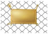 Bir tel net üzerinde boş bronz metal plaka — Stok Vektör