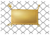 Blank bronze metal plate on a wire net — Vector de stock