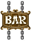 Wooden sign for beer pub or bar — Stock Vector