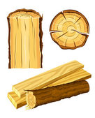 Wooden material wood and board — Stock Vector