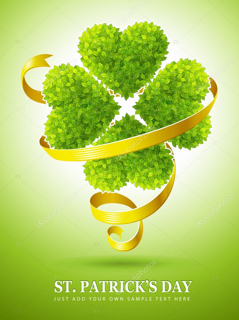 Lucky clover made of green leaves and ribbon for saint Patrick's day vector illustration — Stock Vector #5781725