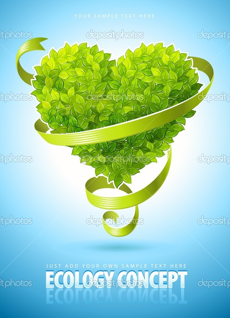 Ecology concept with heart of green leaves and ribbon vector illustration  Stock Vector #5781730