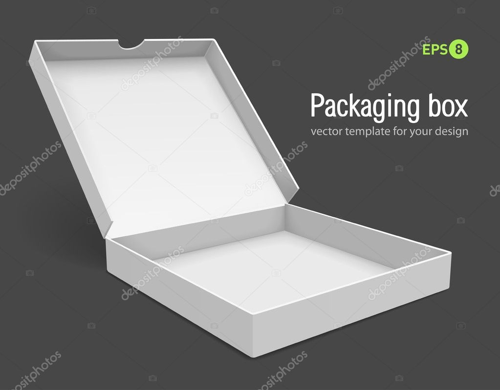 Open packing box for pizza vector illustration isolated on grey background — Stok Vektör #5781769