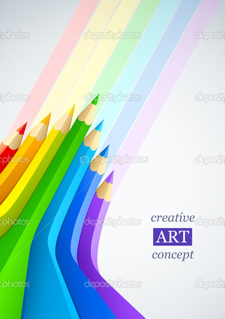 Abstract art background with line of colour pencil as rainbow vector illustration — ベクター素材ストック #5781772