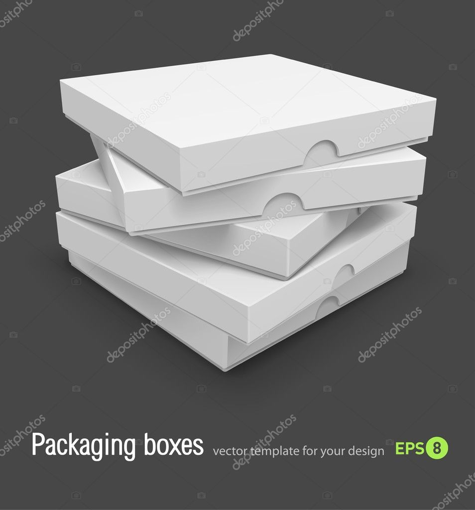Packing boxes with pizza vector illustration isolated on grey background — Stock Vector #5781773