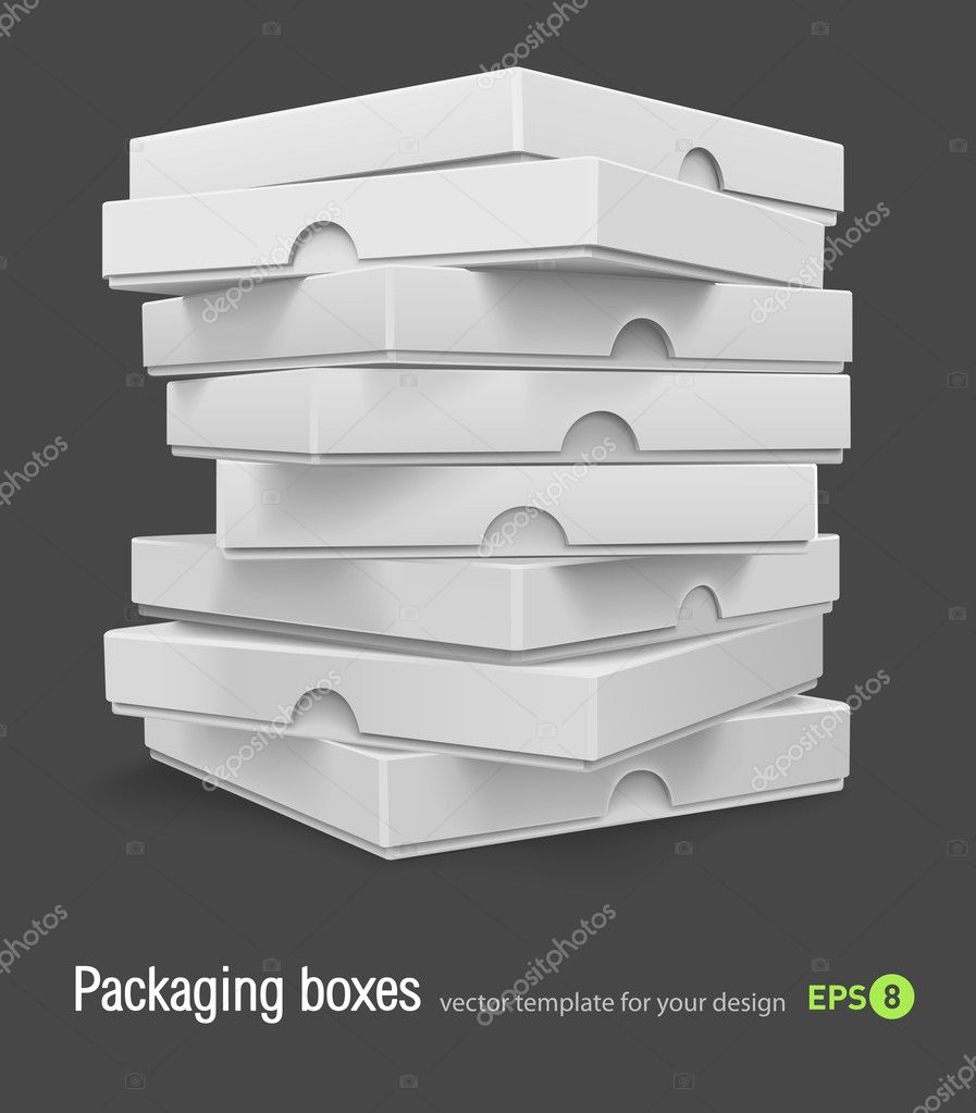 Packing boxes with pizza vector illustration isolated on grey background — Stock Vector #5781783