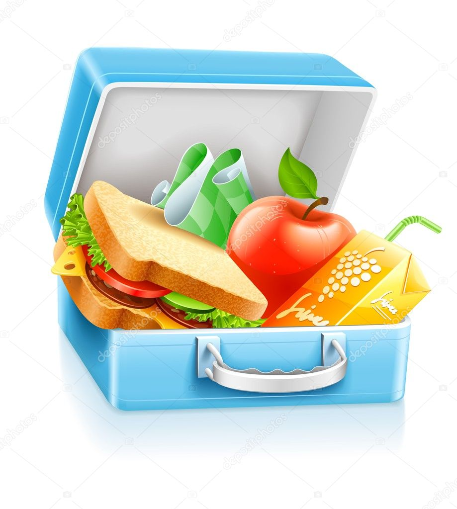 Lunch box with sandwich apple and juice vector illustration isolated on white background — Stock Vector #5781821