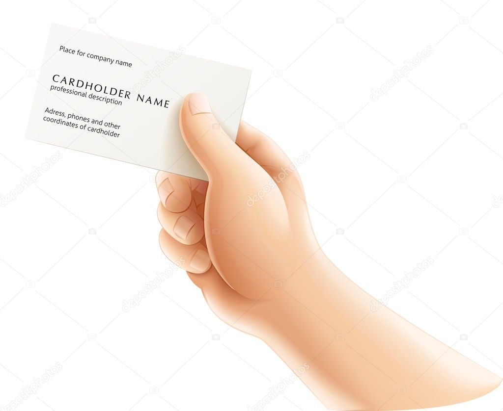 Human hand with business card vector illustration isolated on white background  Imagens vectoriais em stock #5781828