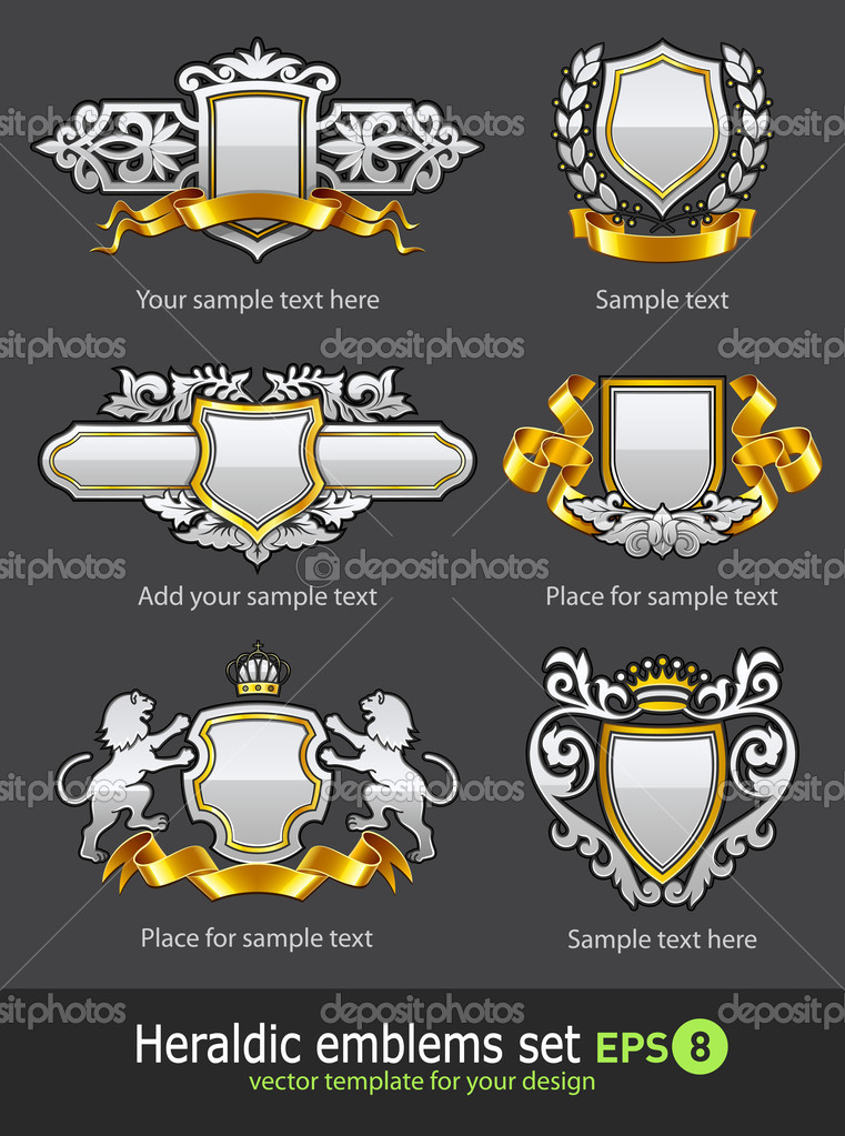 Heraldic vintage emblems set silver and gold vector illustration — Stock Vector #5781851