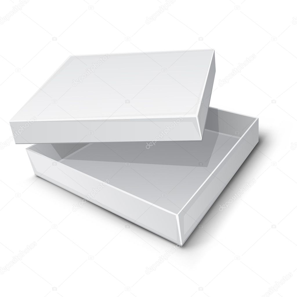 Empty paper box vector illustration isolated on white background — Image vectorielle #5782054