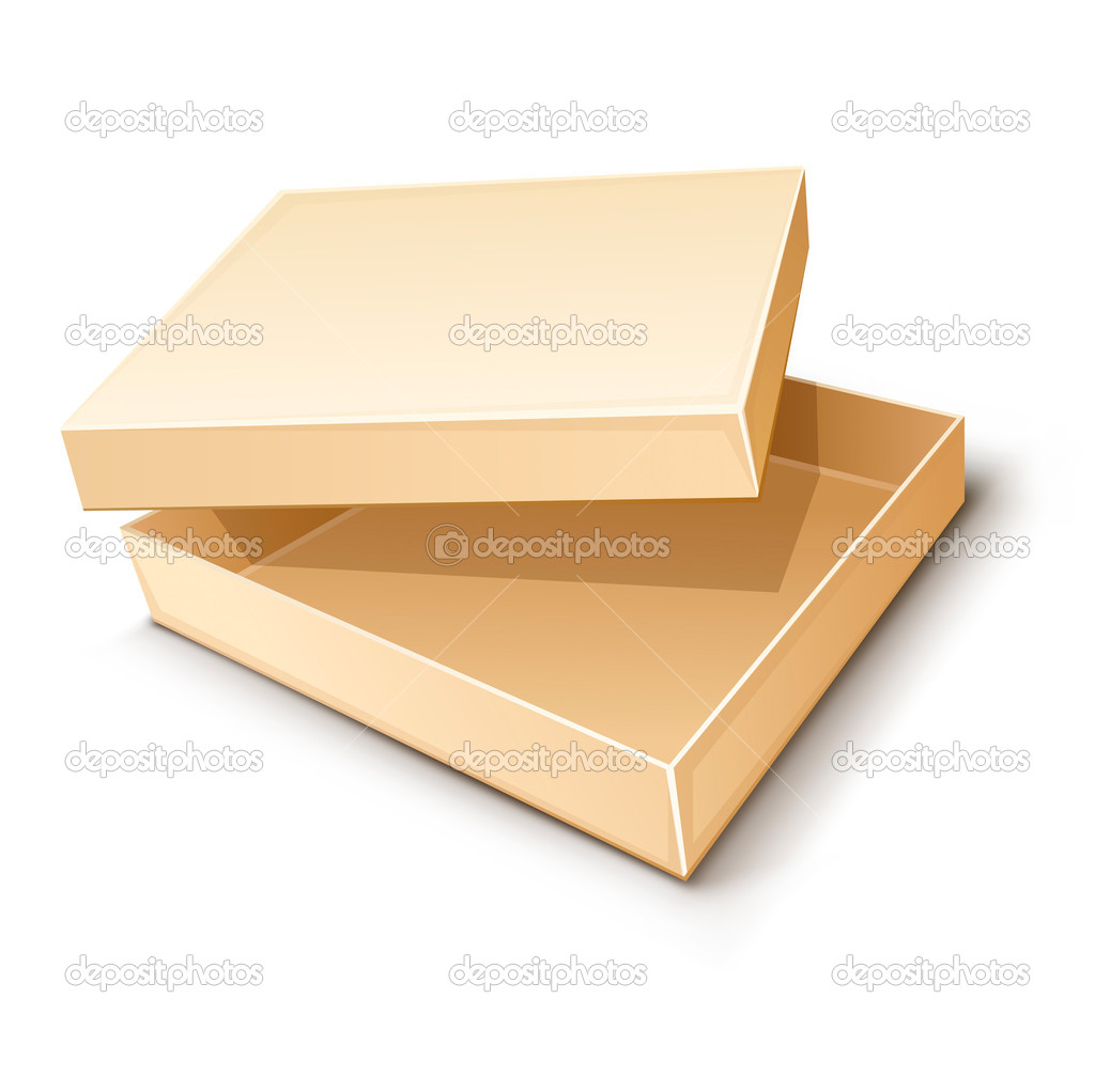 Empty paper box vector illustration isolated on white background — Stock Vector #5782060