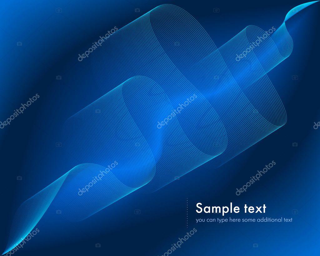蓝色抽象波浪线矢量图的背景