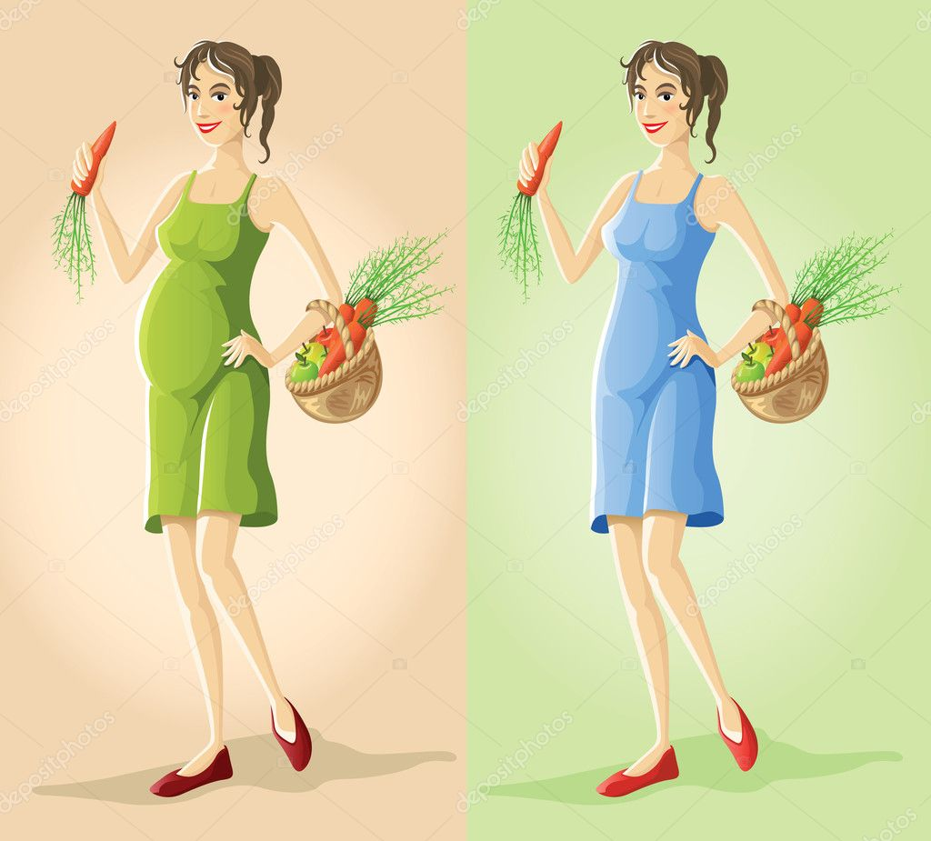 Figures of pregnant slender girl eating natural vegetarian food vector illustration — Stock Vector #5782154