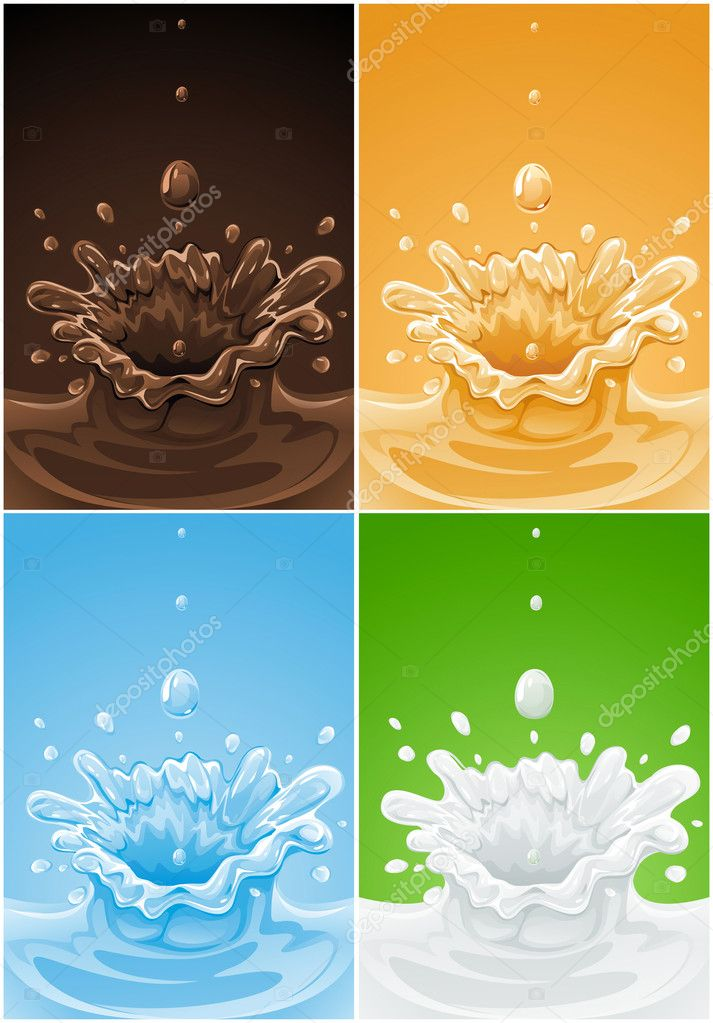 Set of various splash drink liquids – vector illustration — Stock Vector #5782202