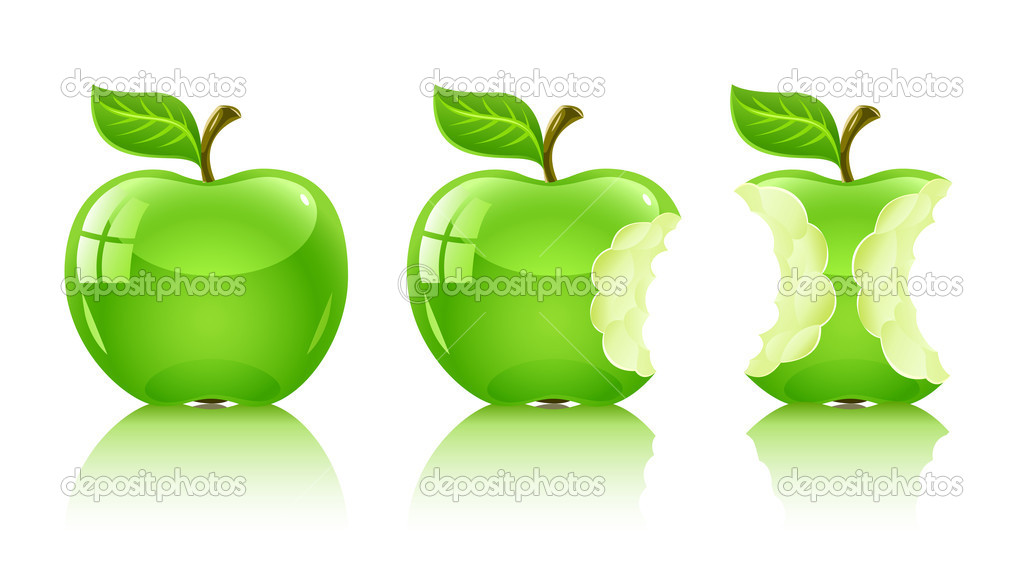 Green nibbled apple with leaf - vector illustration, isolated on white background — Stock Vector #5782251