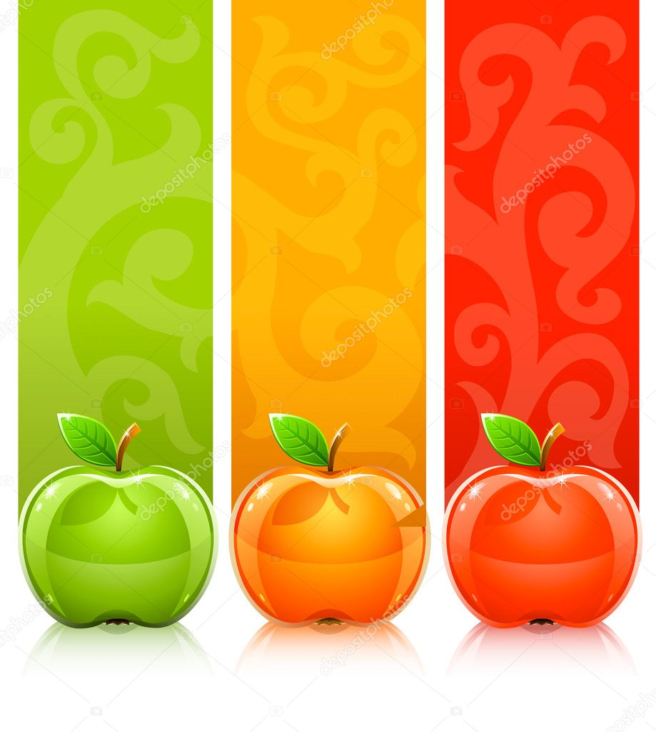 Three coloured apples on decorative background - vector illustration — Stock Vector #5782279