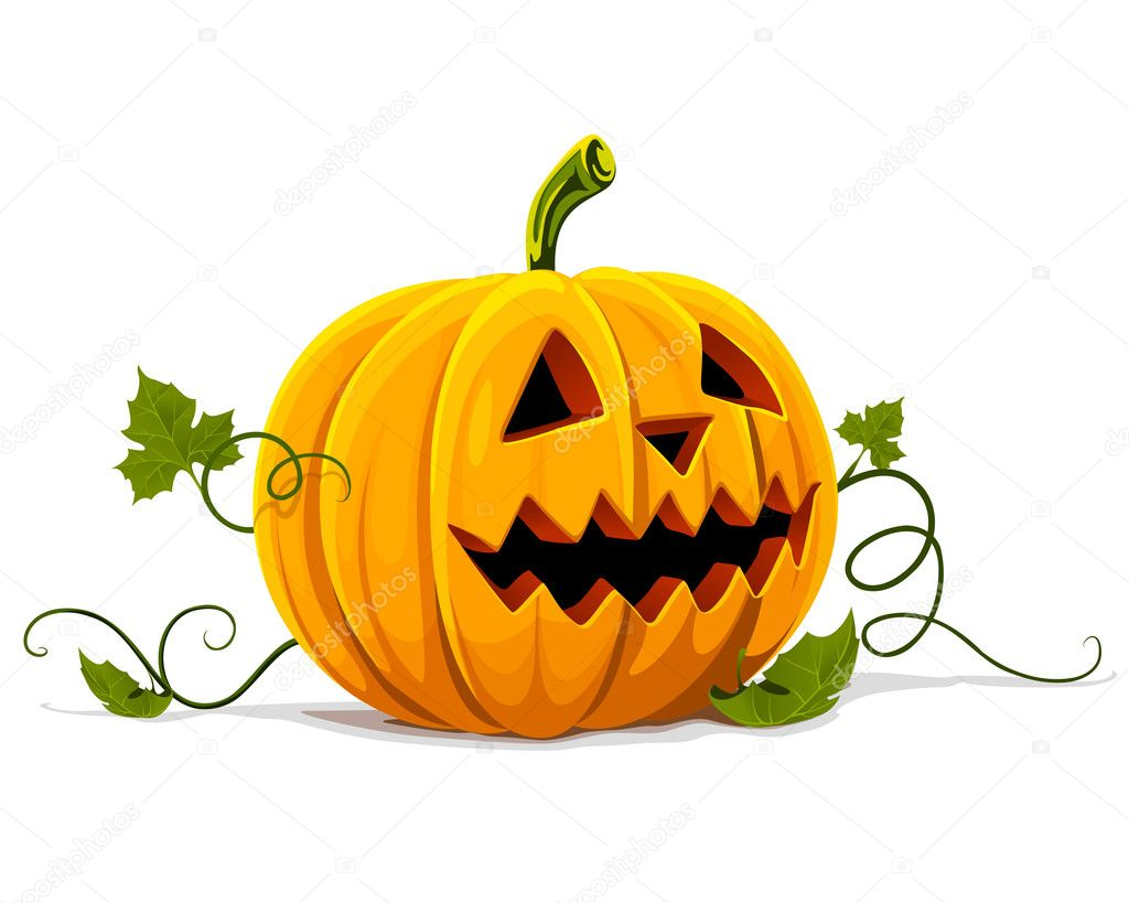 Vector halloween pumpkin vegetable fruit isolated on white background — Stock Vector #5782357