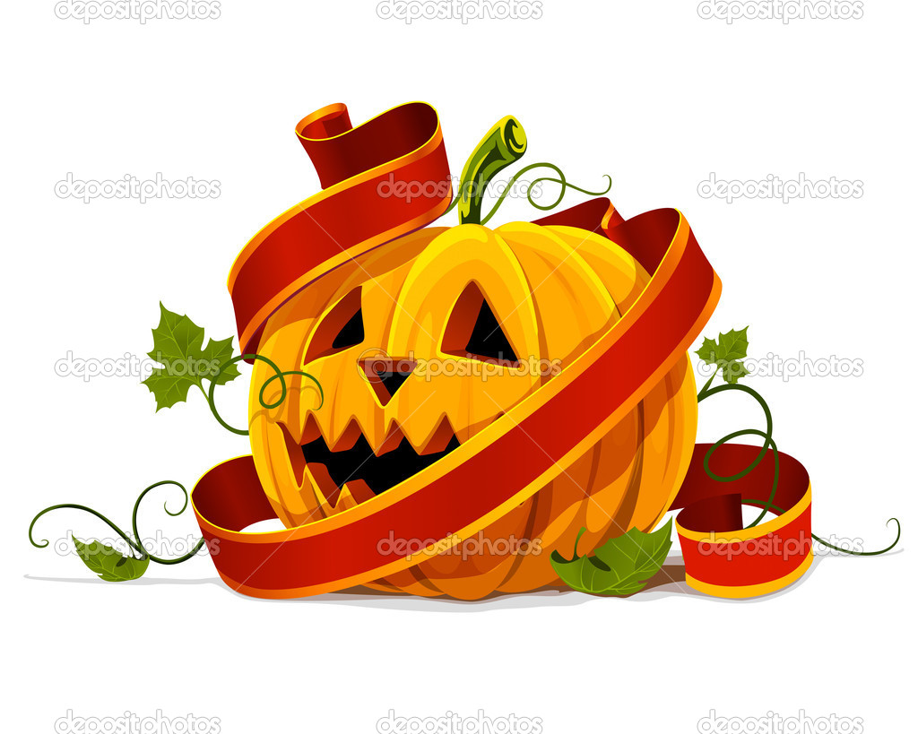 Vector halloween pumpkin vegetable fruit isolated on white background — Stock Vector #5782358