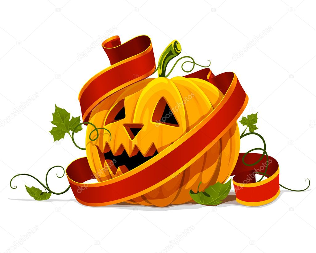 Vector halloween pumpkin vegetable fruit isolated on white background  Stock Vector #5782358